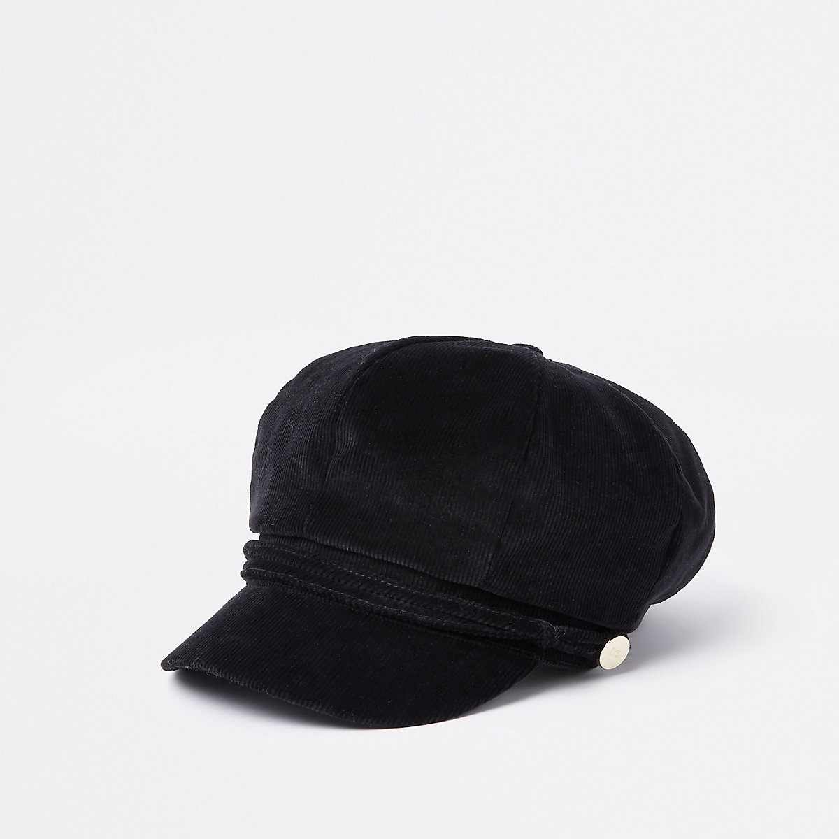 Black cord baker boy hat