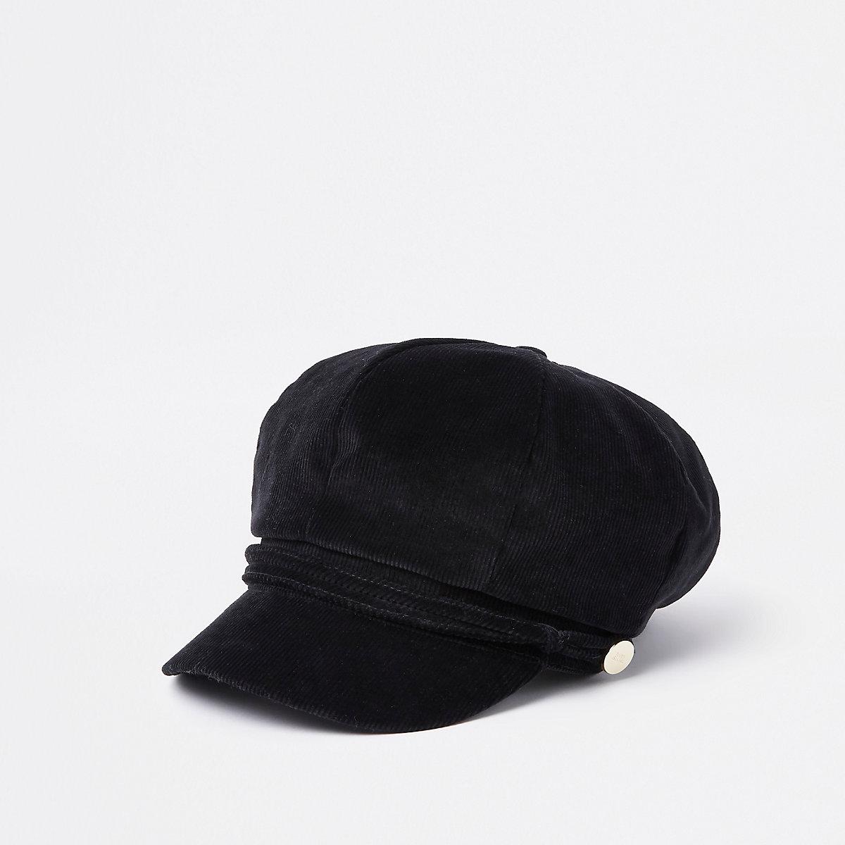 Zwarte corduroy bakerboy-pet