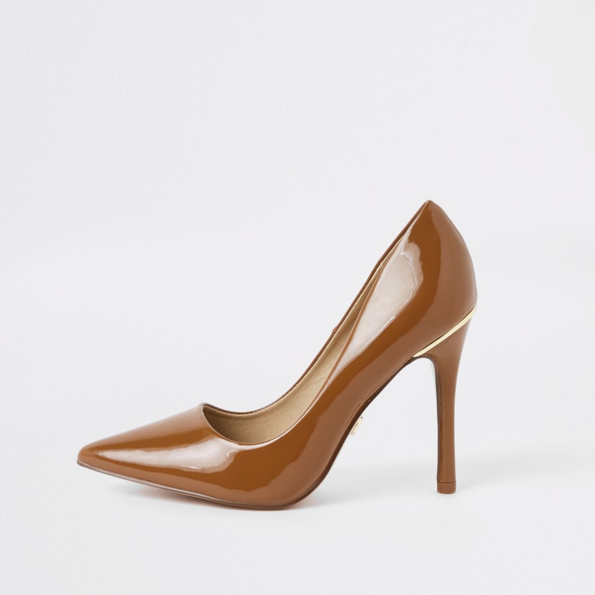 Brown chestnut patent court shoes