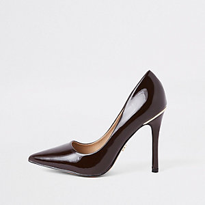 Dark brown espresso patent court shoes