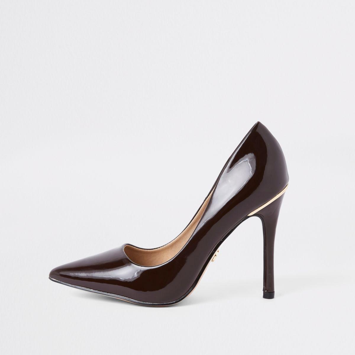 Dark brown espresso patent court shoes