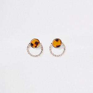 Gold tone print diamante pave stud earrings