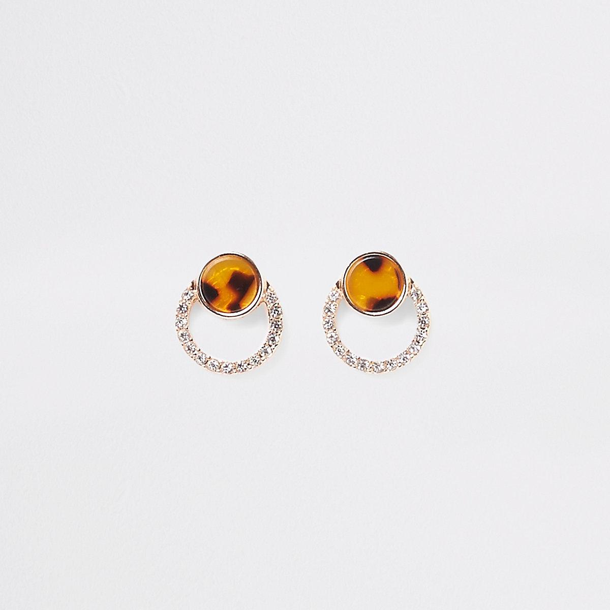 Gold color tortoise rhinestone stud earring
