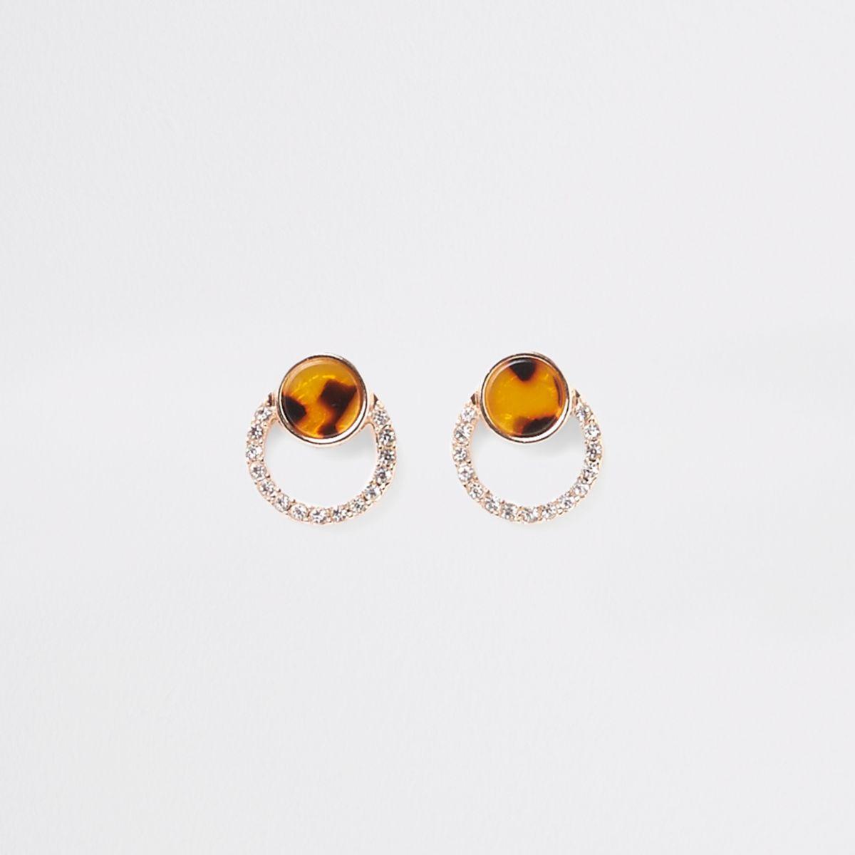 Gold tone tortoiseshell diamante stud earring