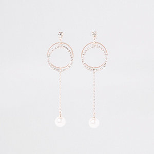 Rose gold circle pearl drop stud earrings