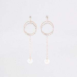 Rose gold circle pearl drop stud earrings