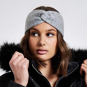 Light grey knit twist headband