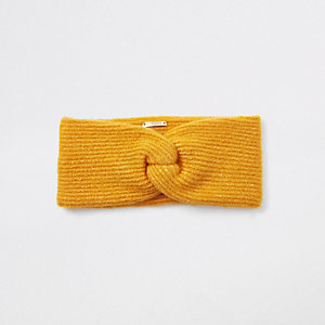 Yellow knit twist headband