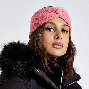 Pink knit twist headband