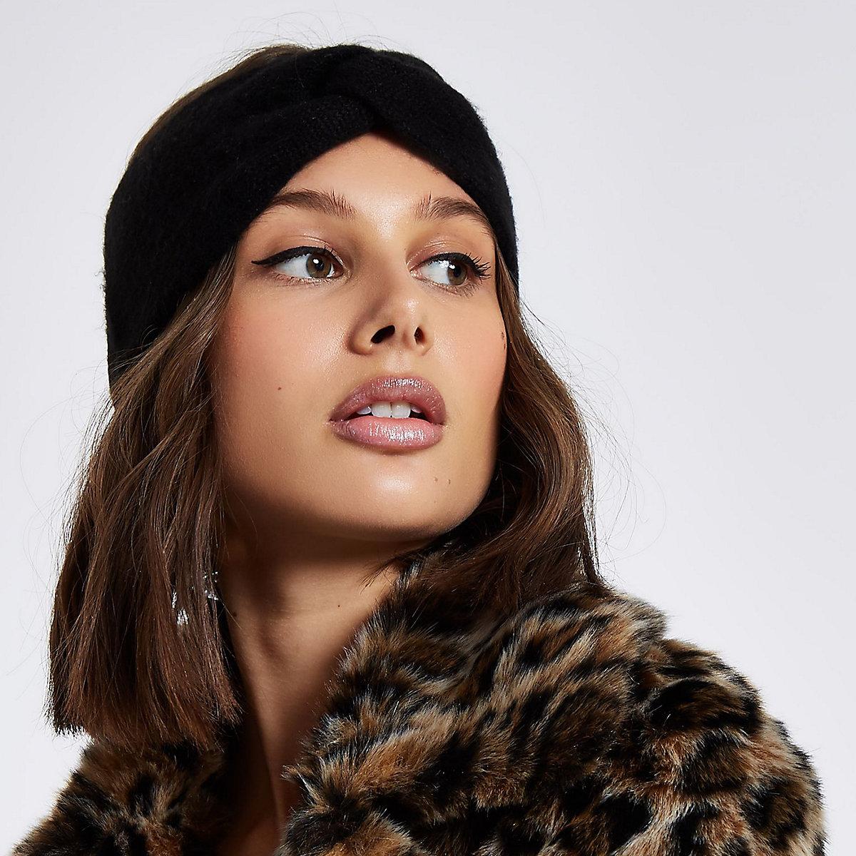 Black knit twist headband
