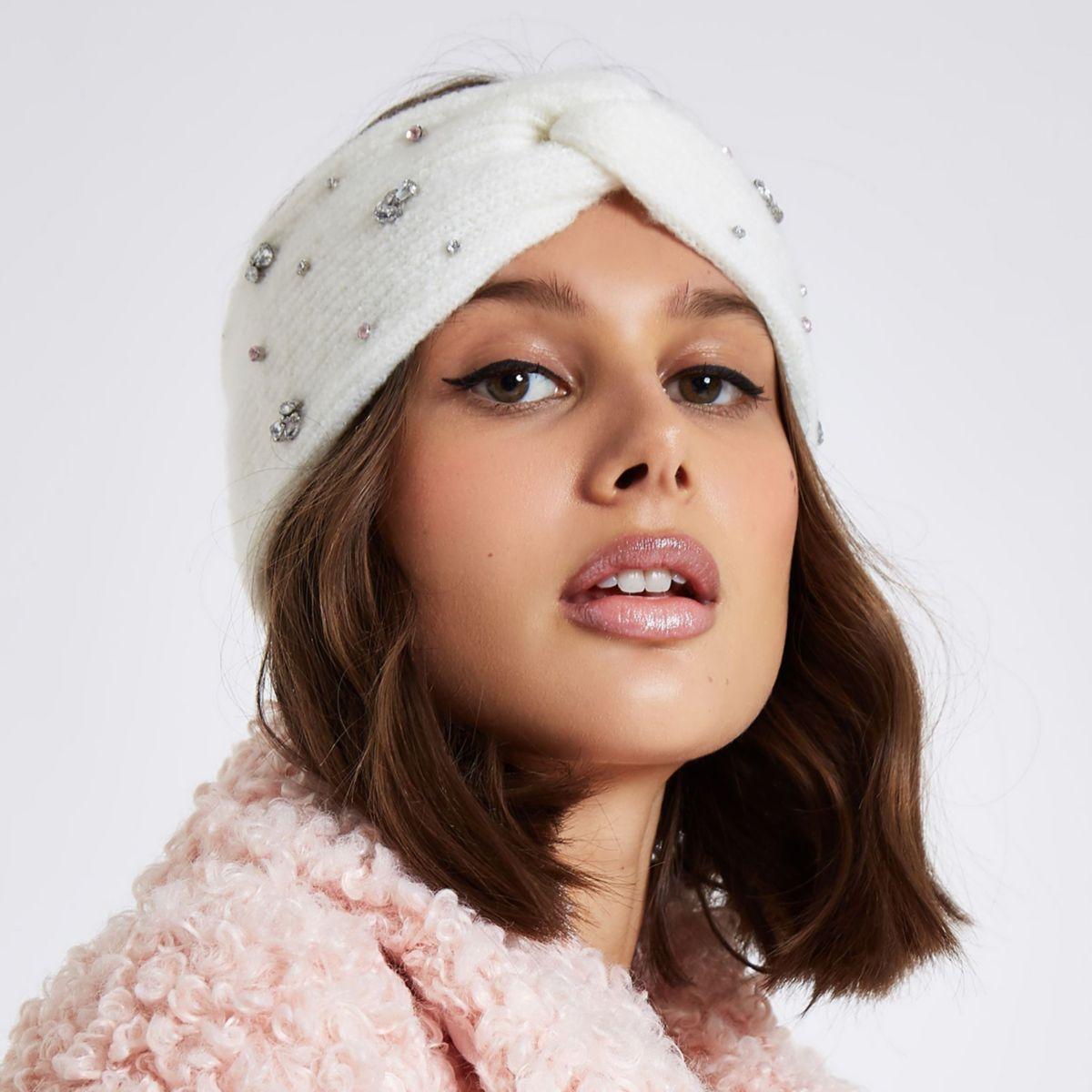White knit jewel embellished twist headband