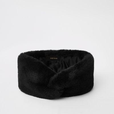Black Faux Fur Headband by River Island