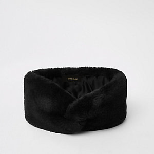 Black faux fur headband