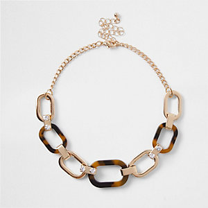 Brown tortoise shell interlinked choker
