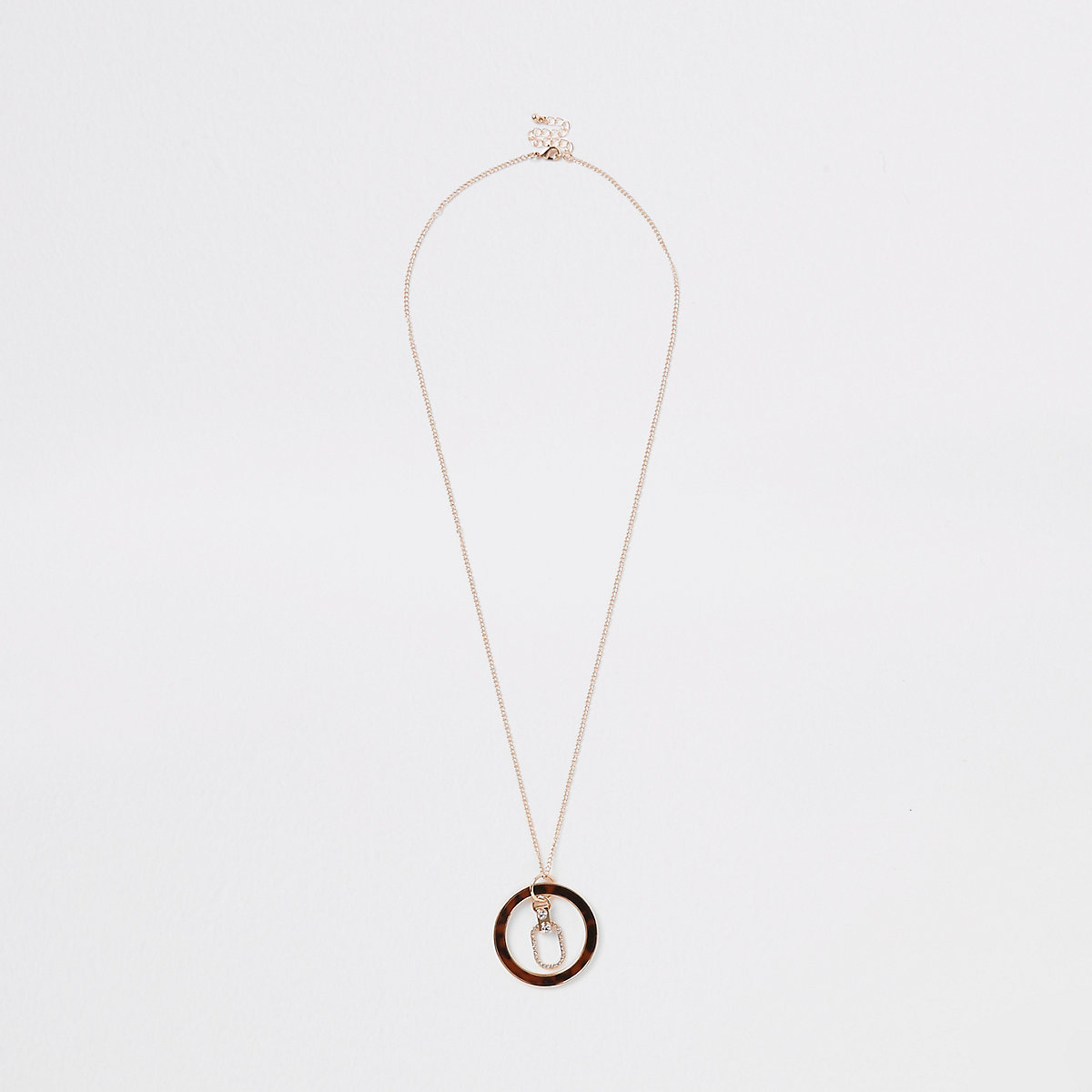 Gold tone tortoise shell circle necklace