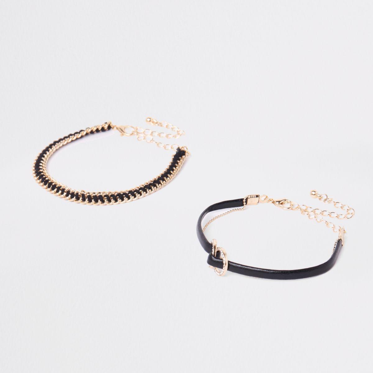 Black circle interlink bracelet multipack