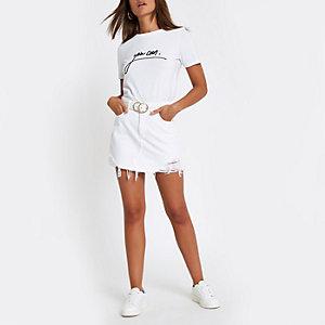 "Weißes T-Shirt mit schwarzem ""you can""-Print"