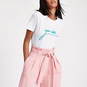 White 'you can' green print T-shirt