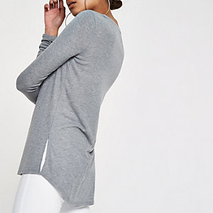 Grey  scoop neck ruched sleeve T-shirt