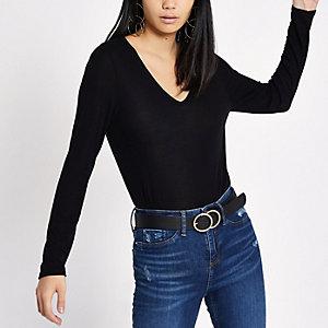 Zwart T-shirt met V-hals en lange mouwen