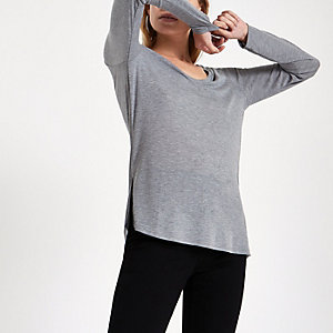 Grijs T-shirt met V-hals en lange mouwen