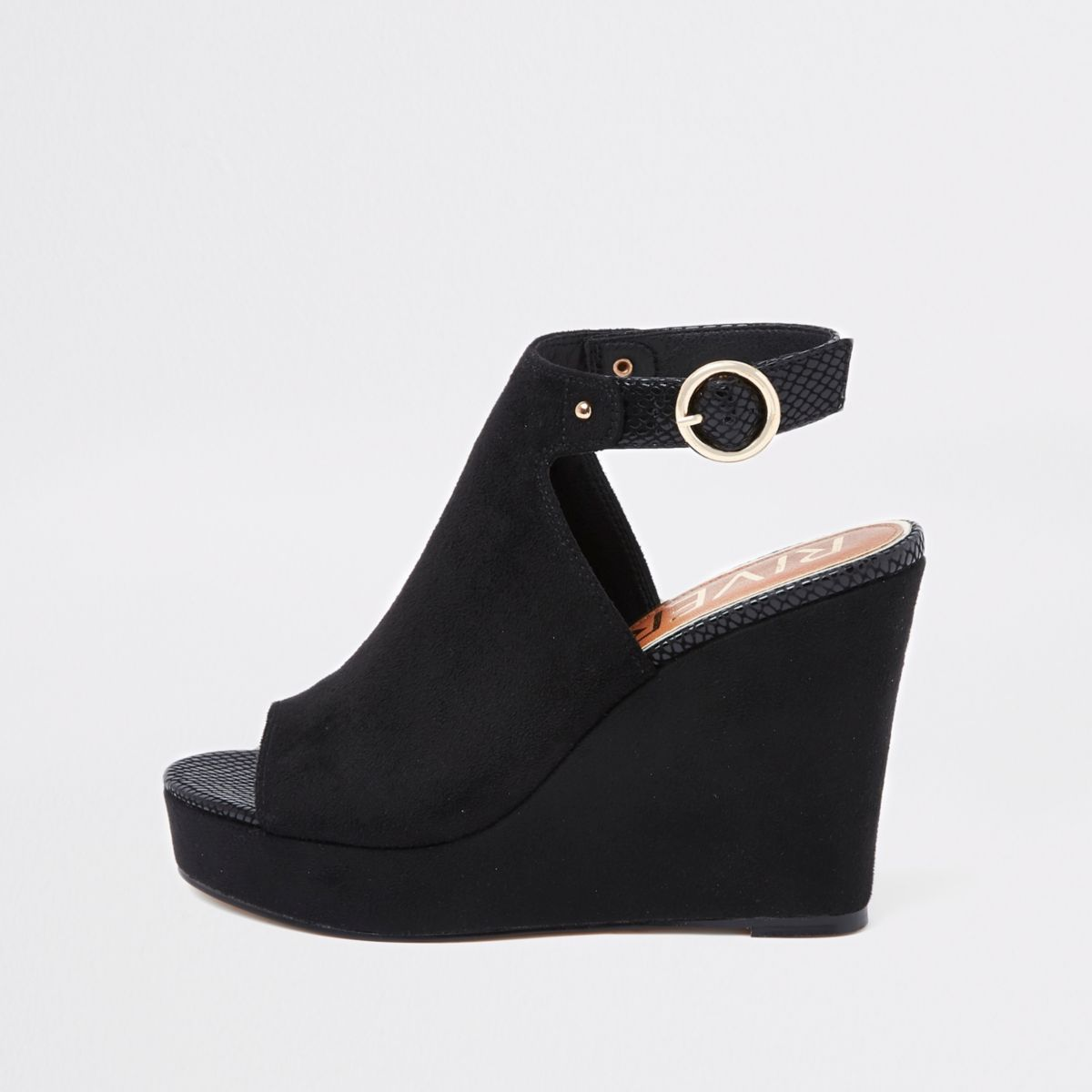 Black faux suede wedges