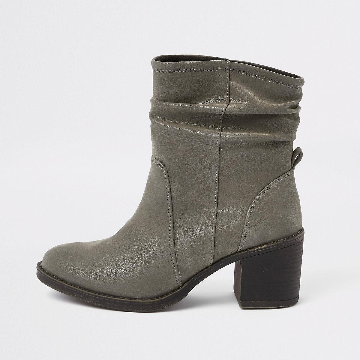 Grey slouch block heel boots