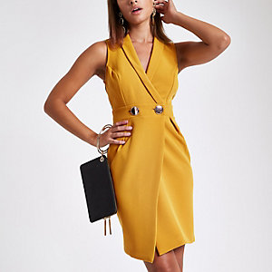 Dark yellow bodycon wrap tux mini dress