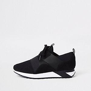 Zwarte elastische vetersneakers