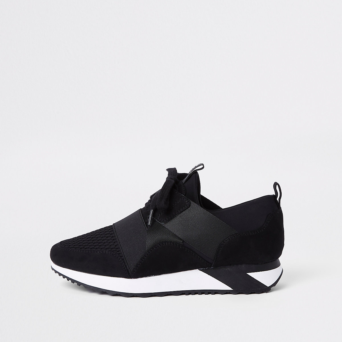 Black Elasticated lace-up runner sneakers