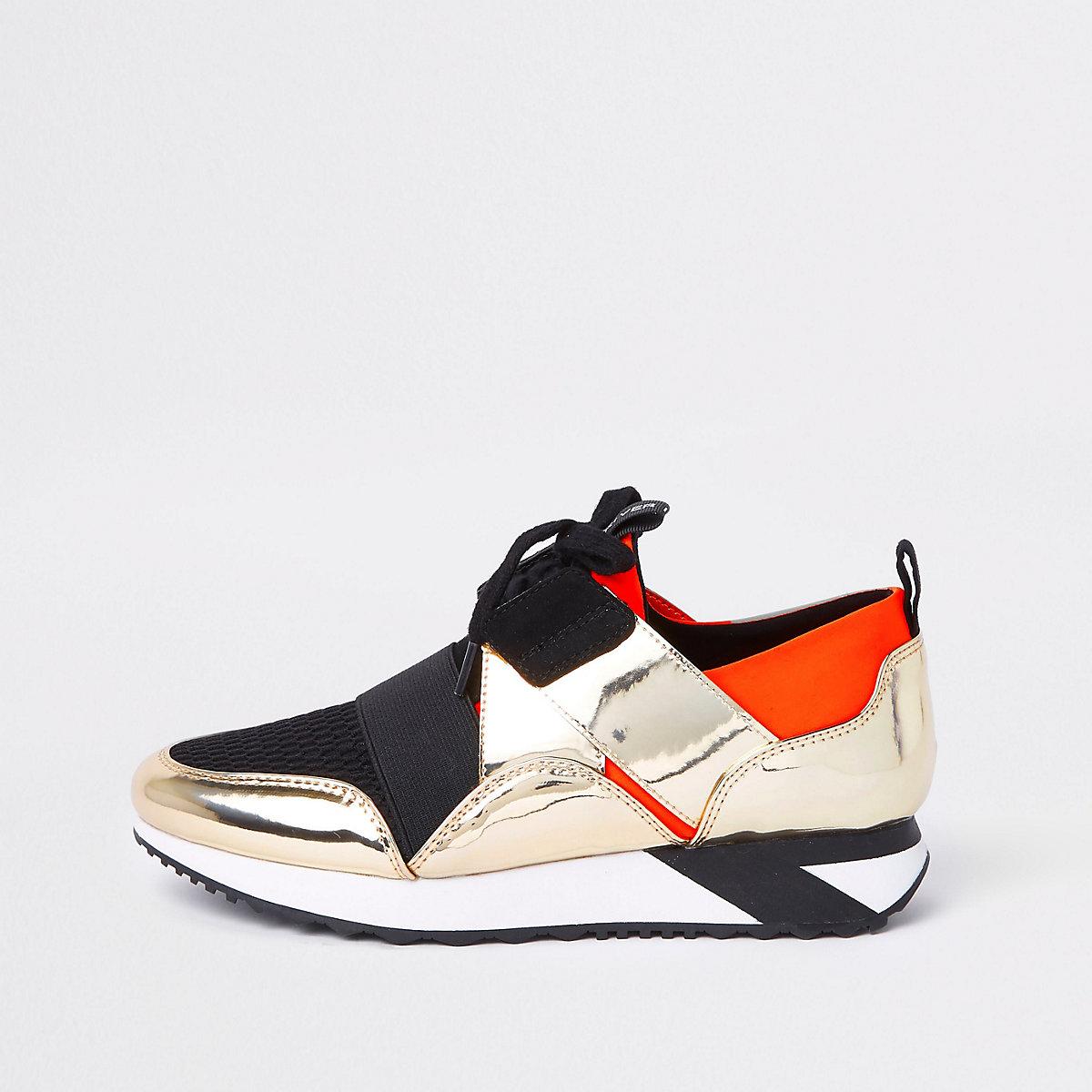 Orange elastic lace-up runner sneakers