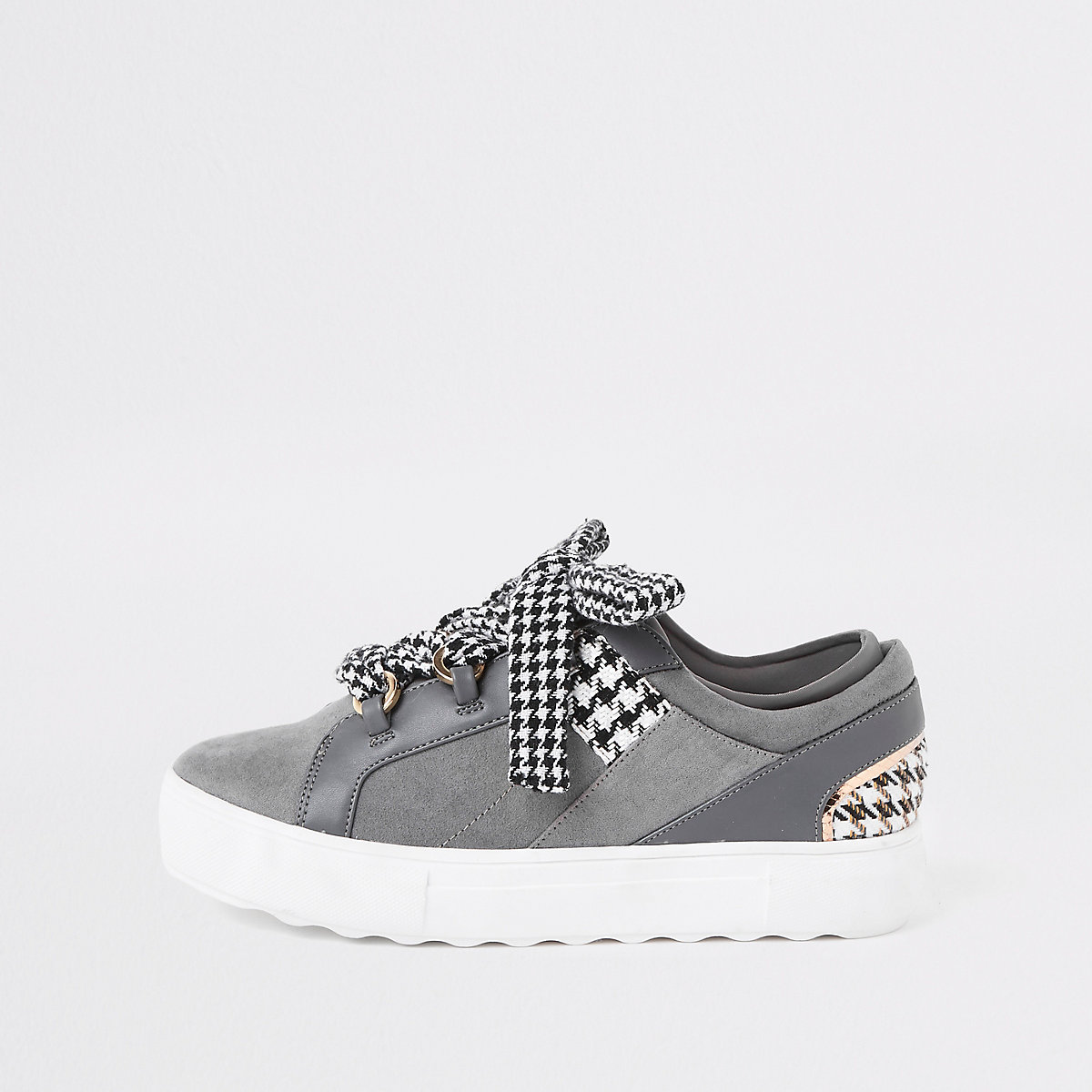 Grey check lace up trainers