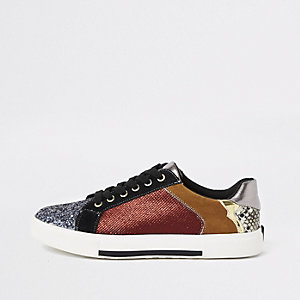 Dark red glitter lace-up trainers