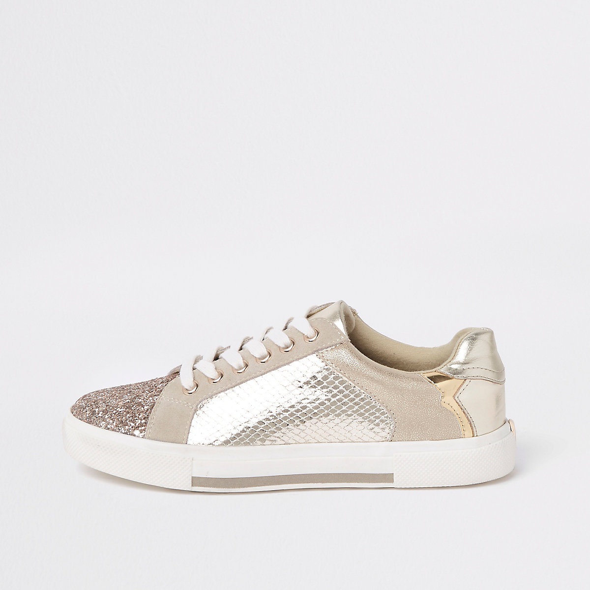 Gold metallic glitter plimsolls