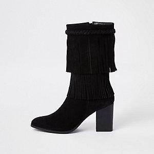 Black suede fringe block heel boots