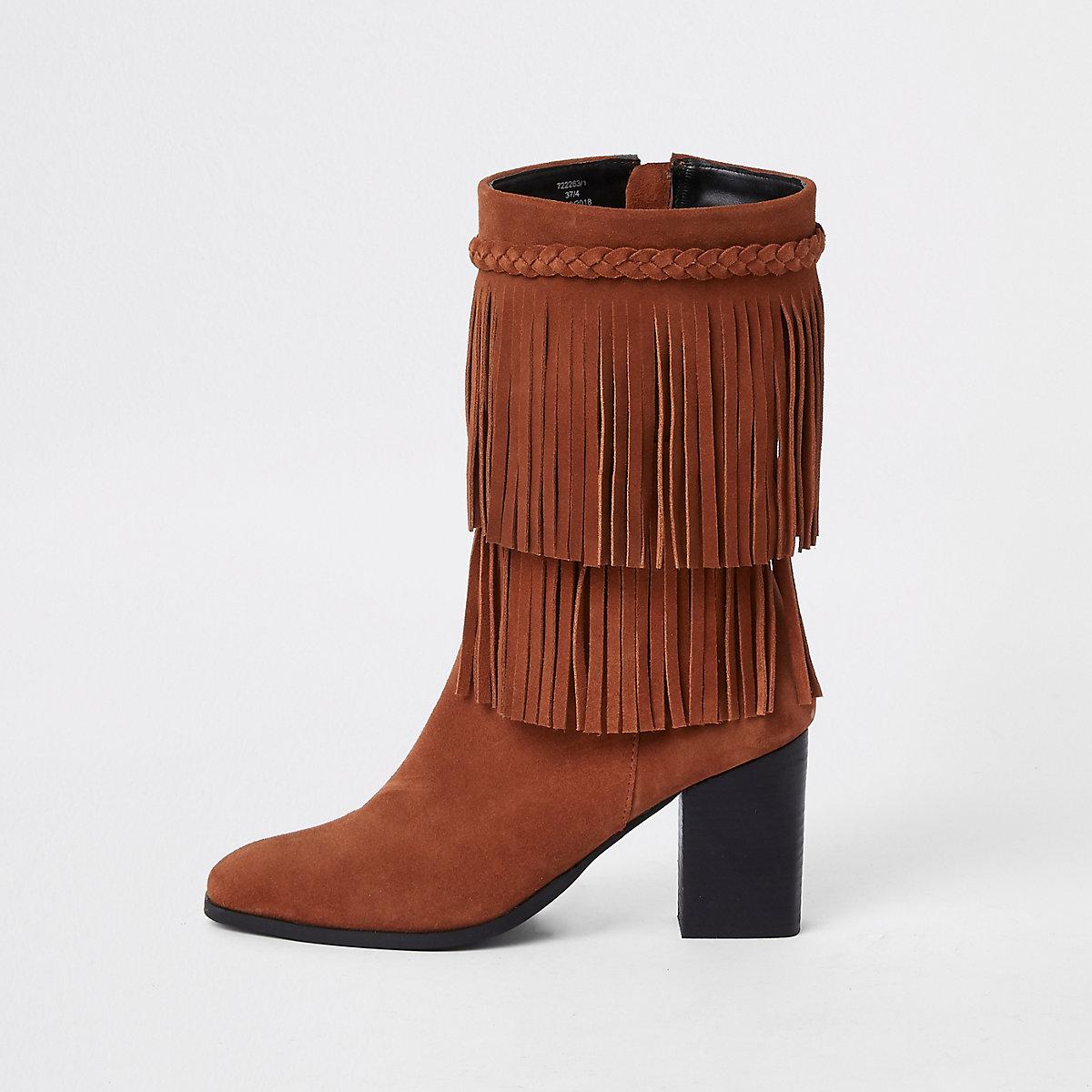 Brown suede fringe block heel boots