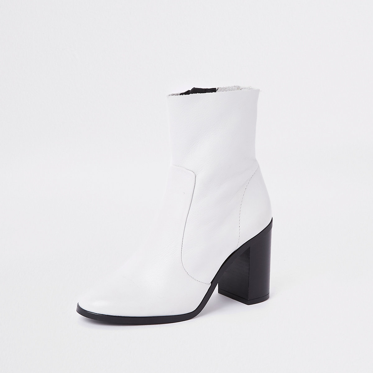 White Leather Sock Block Heel Ankle Boots Boots Shoes Boots