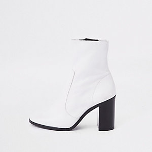 White leather sock block heel ankle boots