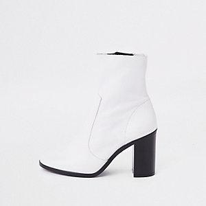 Blockabsatz-Stiefeletten mit Lederlaufsohle