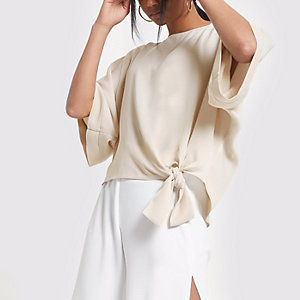 Beige short sleeve tie side top