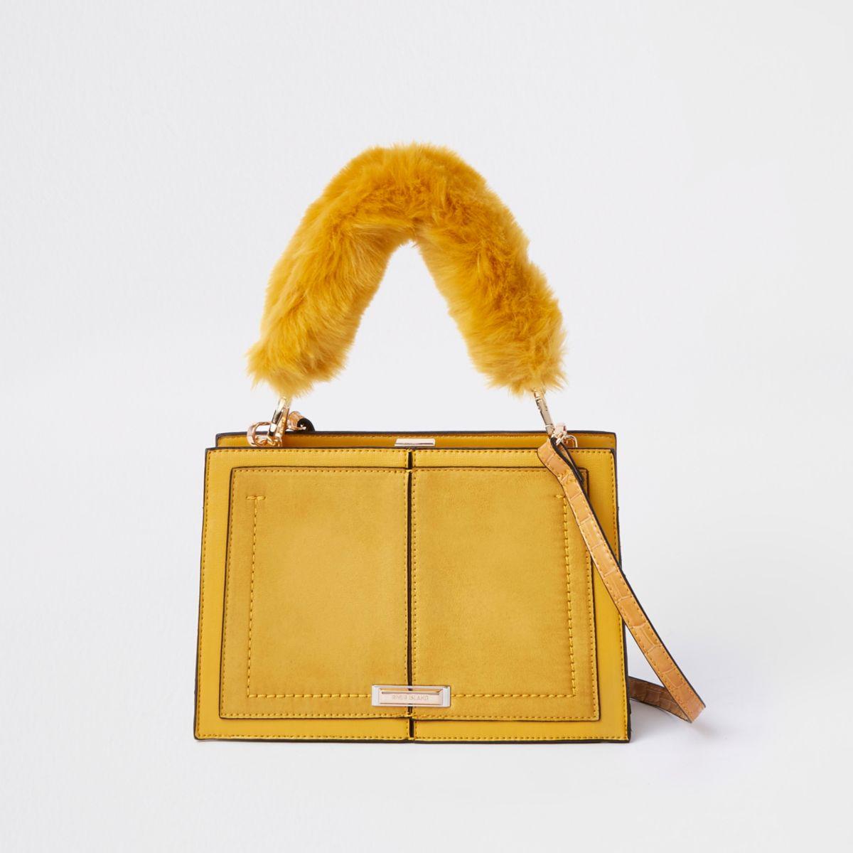 Yellow snake embossed faux fur cross body bag