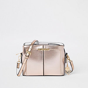 Gold triple compartment bucket cross body bag