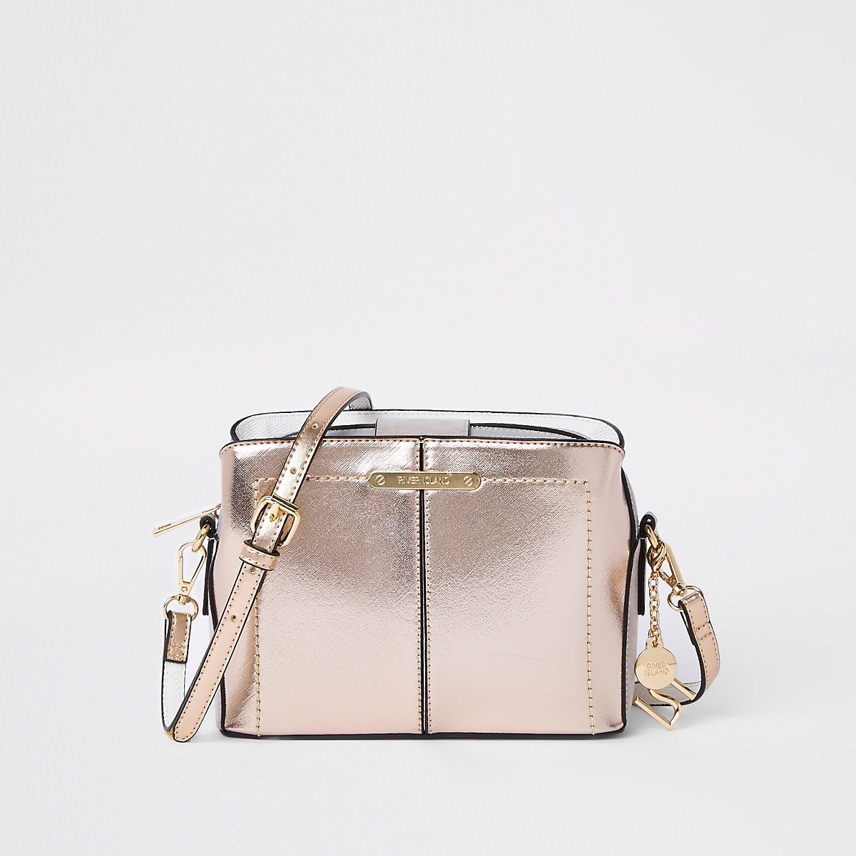 Gold triple compartment cross body bag