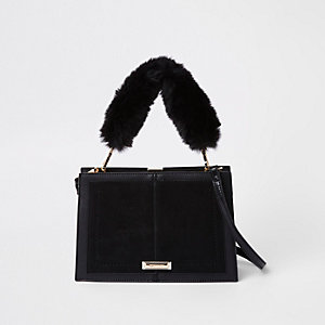 Black snake embossed faux fur cross body bag