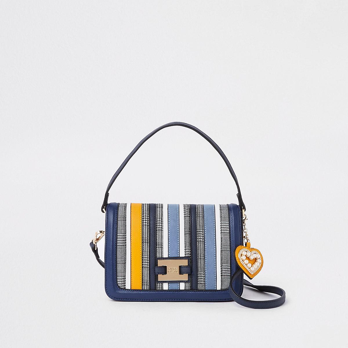 Blue stripe flap over crossbody bag