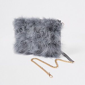 Grey marabou fur cross body pouch bag