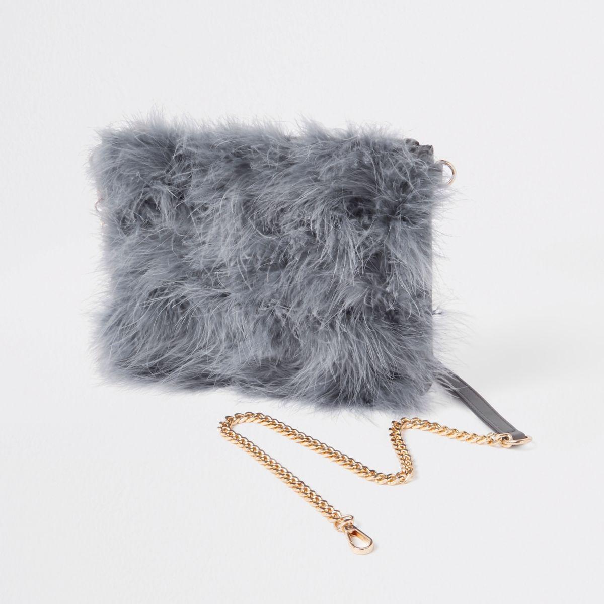 Grey marabou fur cross body pouch bag