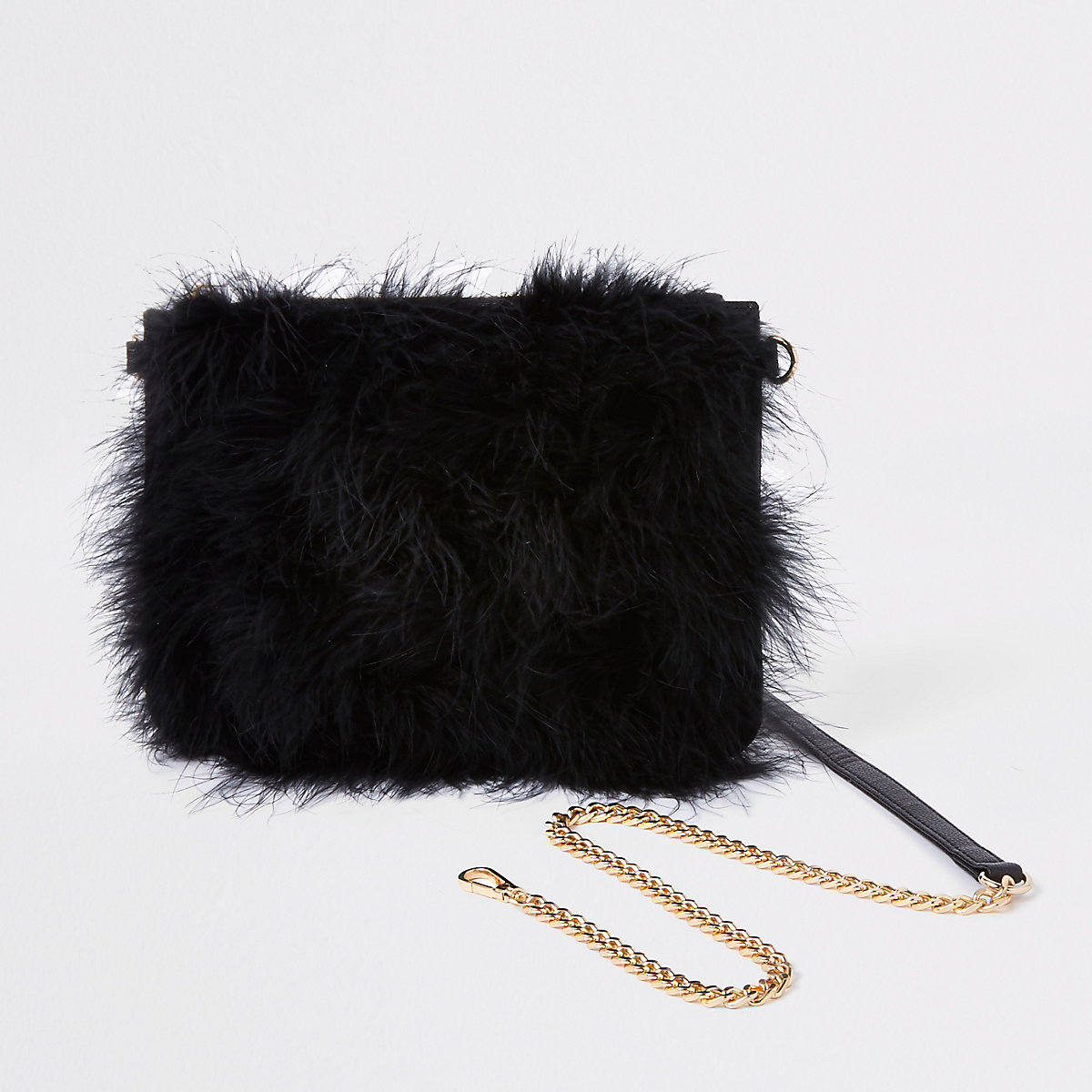 Black marabou feather cross body pouch bag