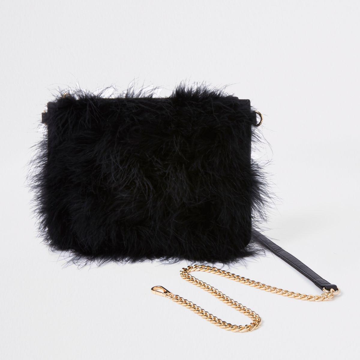 Black marabou fur cross body pouch bag