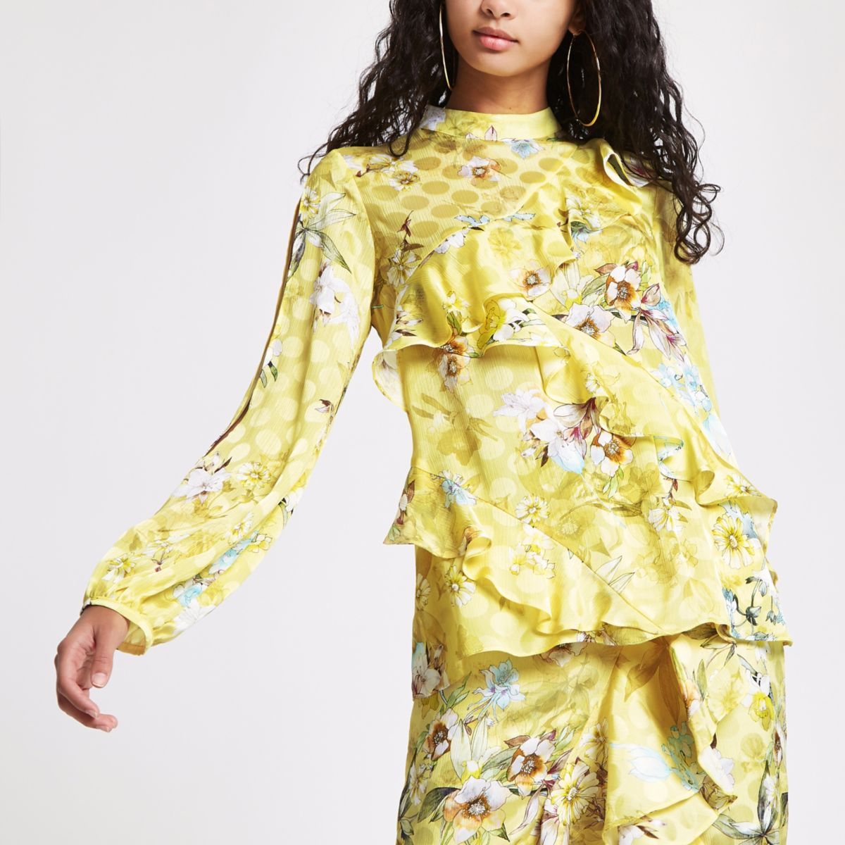 Yellow jacquard floral frill blouse